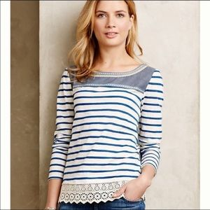 Anthropologie Lyb Shiloh Embroidered Top